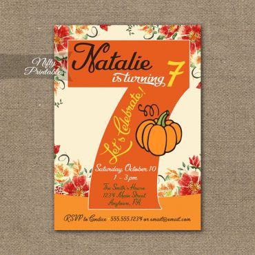 7th Birthday Invitation - Pumpkin Birthday Invitation