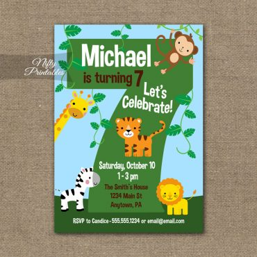 7th Birthday Invitation - Safari Birthday Invitation
