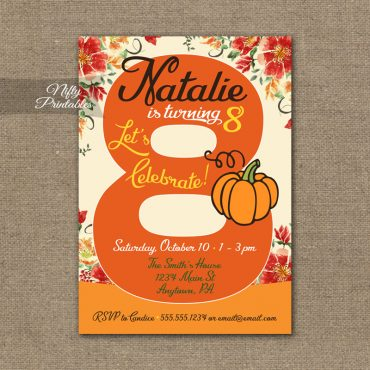 8th Birthday Invitation - Pumpkin Birthday Invitation