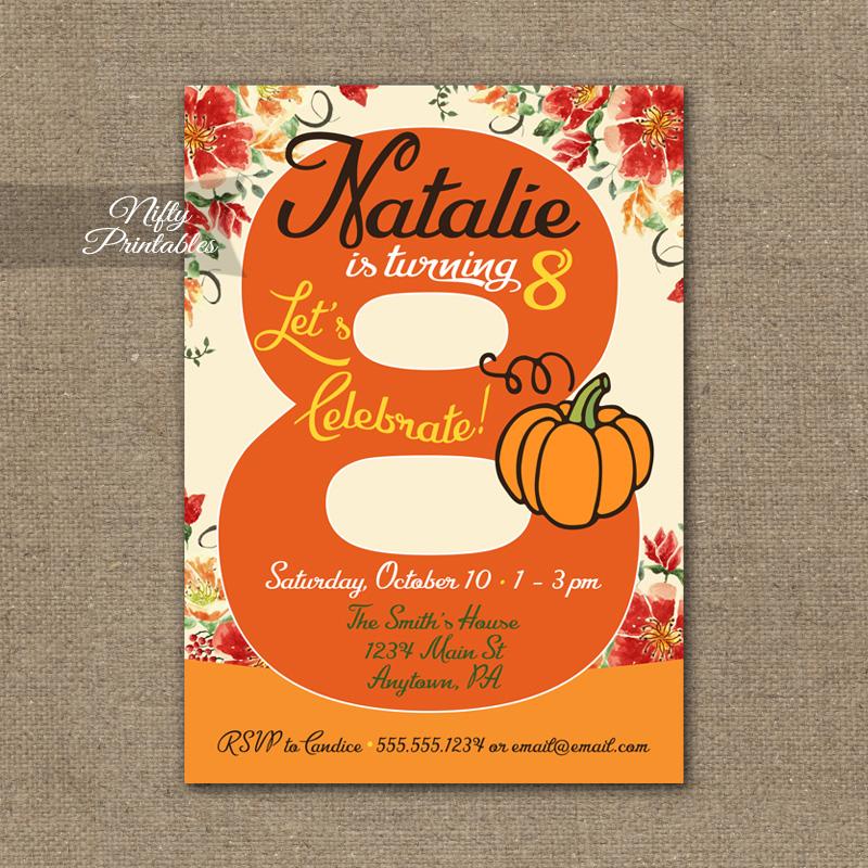 8th birthday invitation pumpkin birthday invitation nifty printables