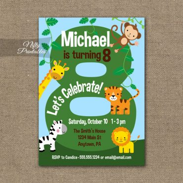 8th Birthday Invitation - Safari Birthday Invitation