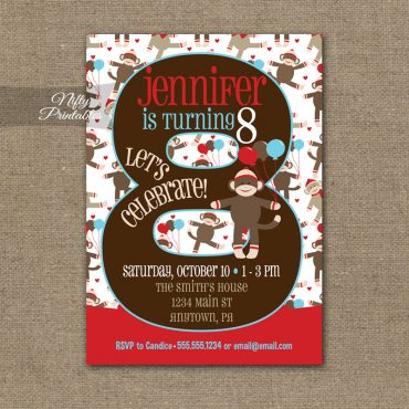 8th Birthday Invitation - Sock Monkey Birthday Invitation