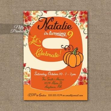 9th Birthday Invitation - Pumpkin Birthday Invitation