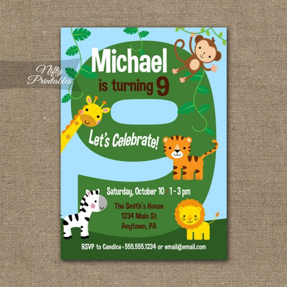 9th Birthday Invitation - Safari Birthday Invitation