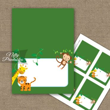 Buffet Tent Cards - Place Cards - Safari Jungle Animals