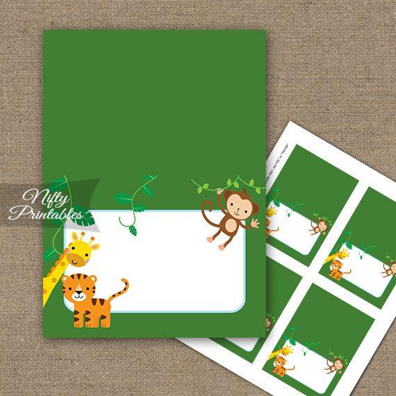 Buffet Tent Cards - Place Cards - Safari Jungle Animals