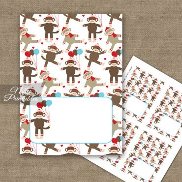 Buffet Tent Cards - Place Cards - Sock Monkey