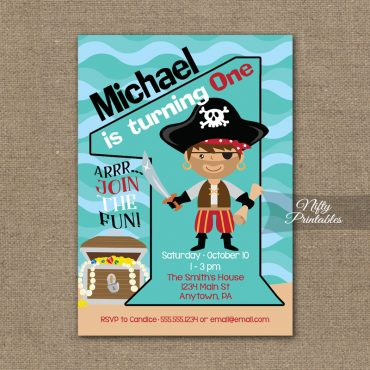 1st Birthday Invitation - Pirate Birthday Invitations