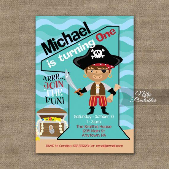 1st Birthday Invitation - Pirate Birthday Invitations