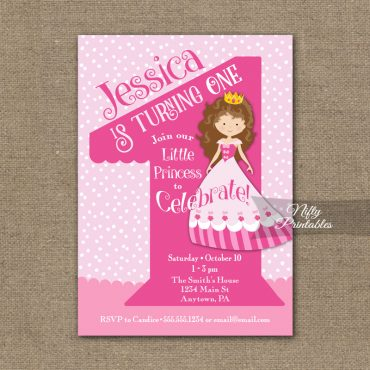 1st Birthday Invitation - Pink Princess Invitation