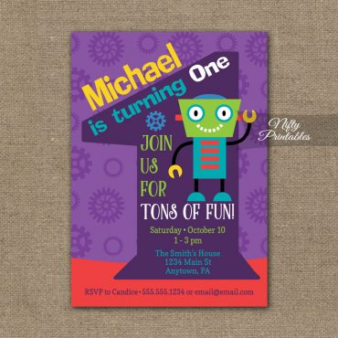 1st Birthday Invitation - Boys Robot Invitation