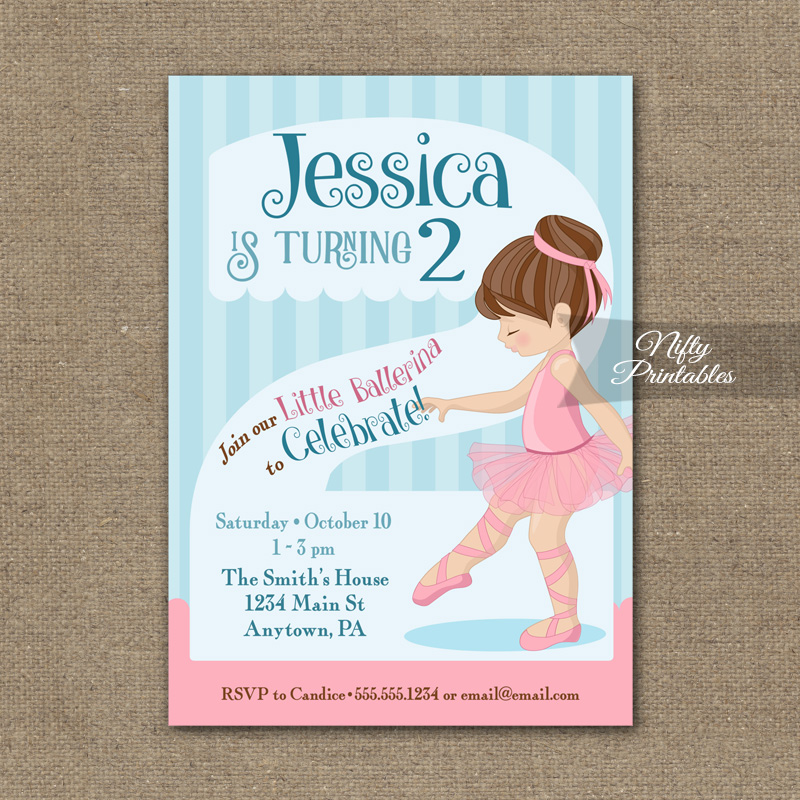2nd Birthday Invitation Ballerina Tutu Invitation Nifty Printables