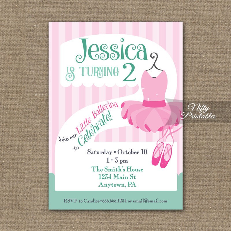 2nd Birthday Invitation Ballet Tutu