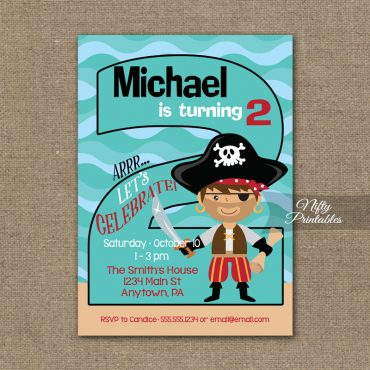 2nd Birthday Invitation - Pirate Birthday Invitations