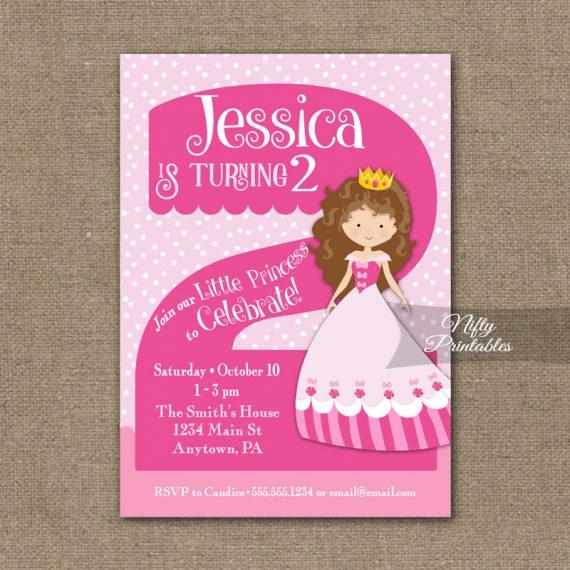 2nd Birthday Invitation - Pink Princess Invitation
