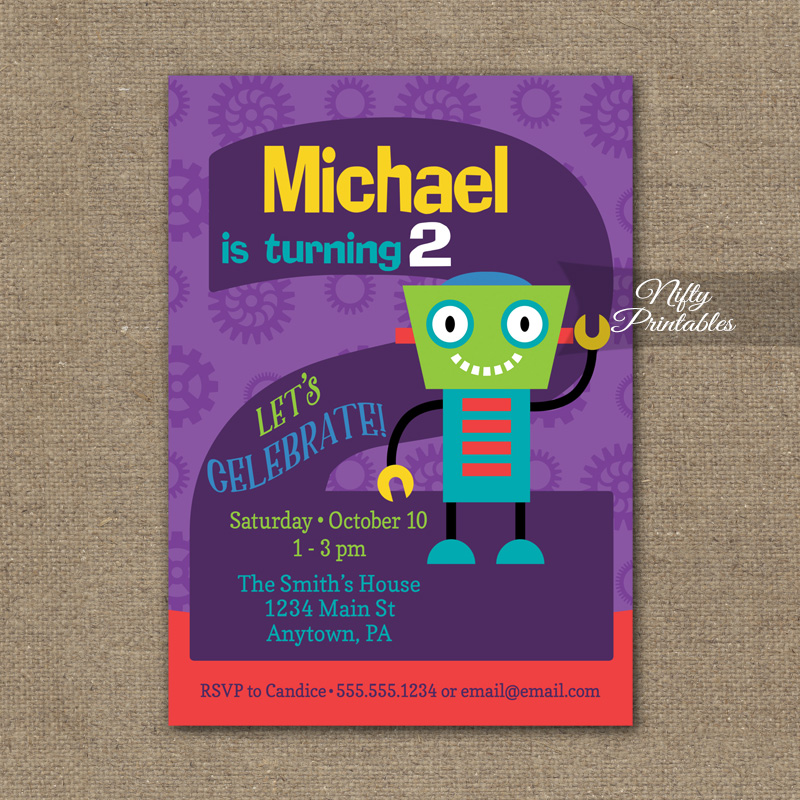2nd Birthday Invitation Boys Robot