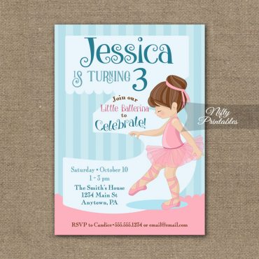 3rd Birthday Invitation - Ballerina Tutu Invitation