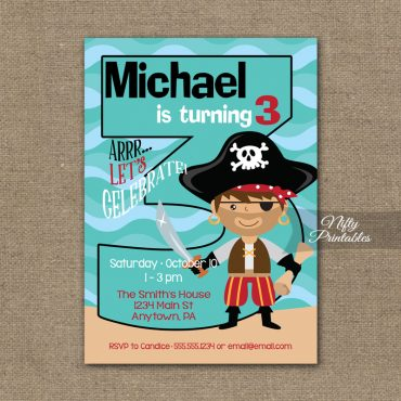 3rd Birthday Invitation - Pirate Birthday Invitations