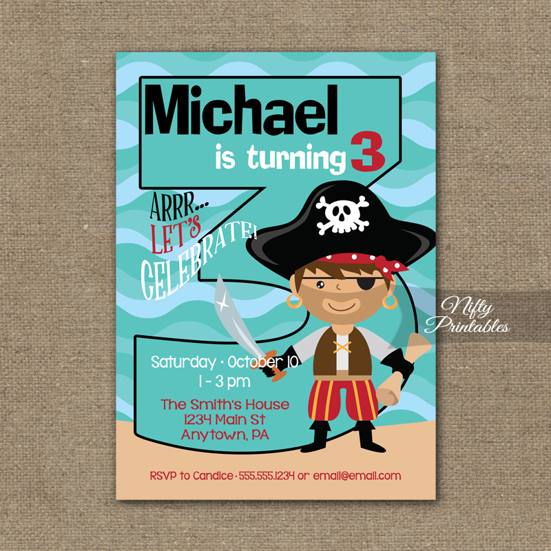 3rd Birthday Invitation Pirate Invitations
