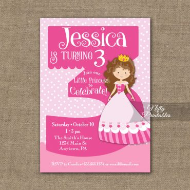 3rd Birthday Invitation - Pink Princess Invitation