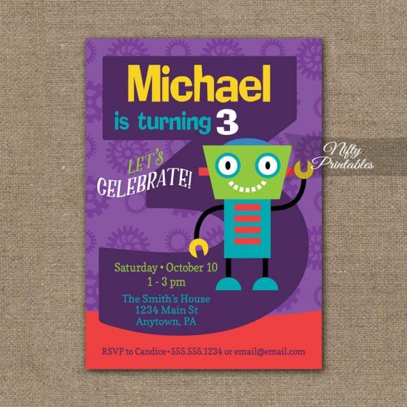 3rd Birthday Invitation - Boys Robot Invitation