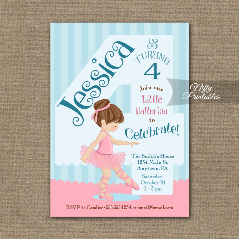 4th Birthday Invitation Ballerina Tutu