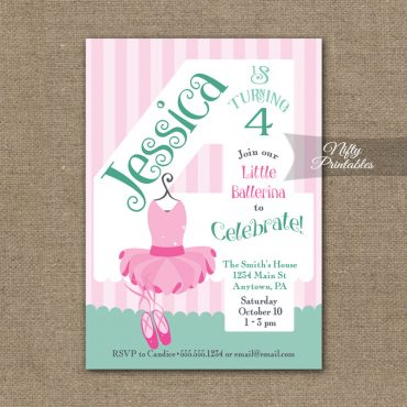 4th Birthday Invitation - Ballet Tutu Invitation