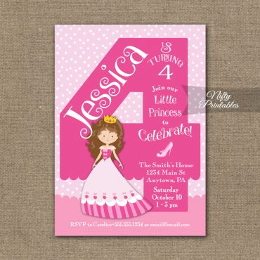 4th Birthday Invitation - Pink Princess Invitation
