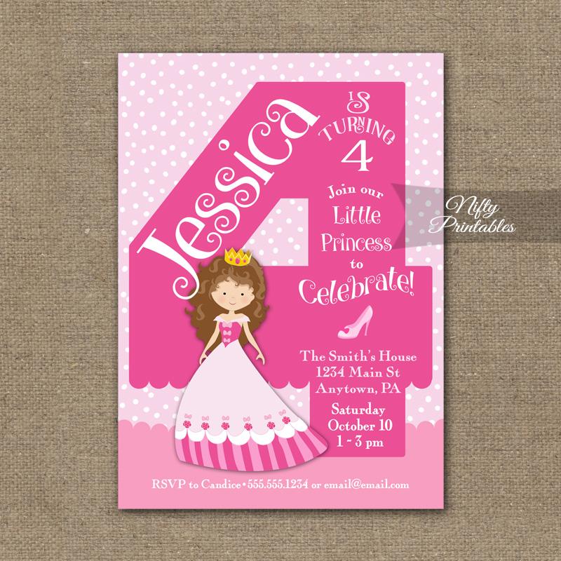 4th Birthday Invitation Pink Princess