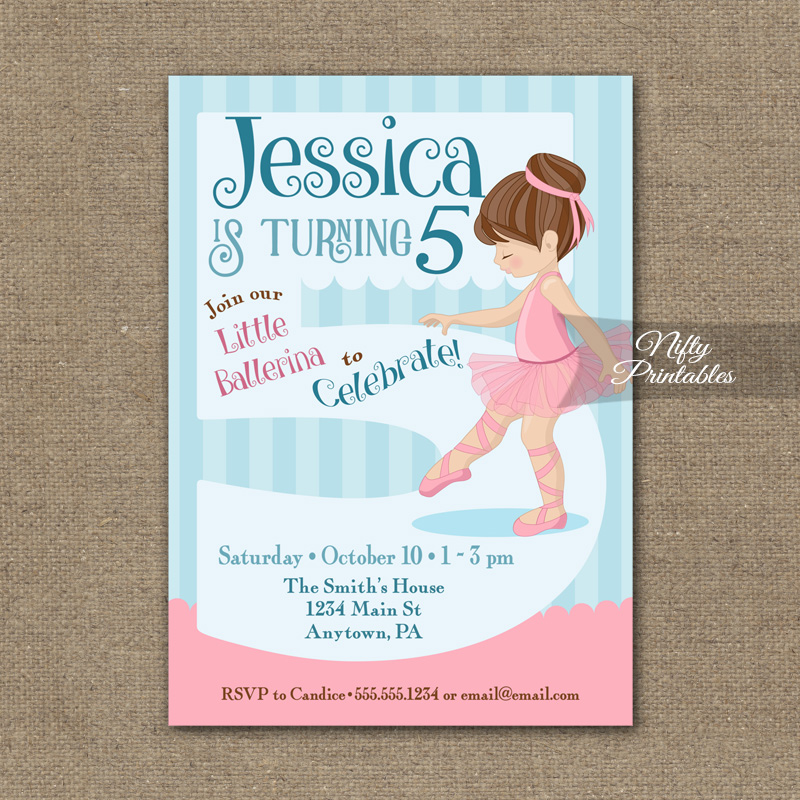 5th Birthday Invitation Ballerina Tutu