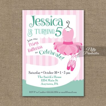 5th Birthday Invitation - Ballet Tutu Invitation