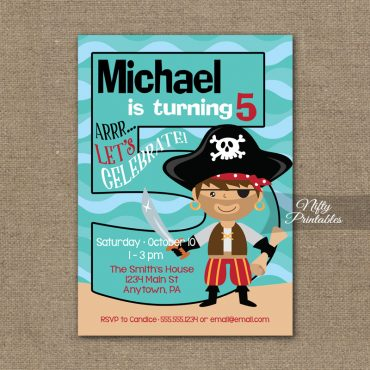 5th Birthday Invitation - Pirate Birthday Invitations