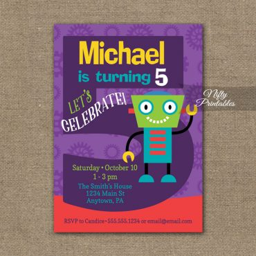5th Birthday Invitation - Boys Robot Invitation