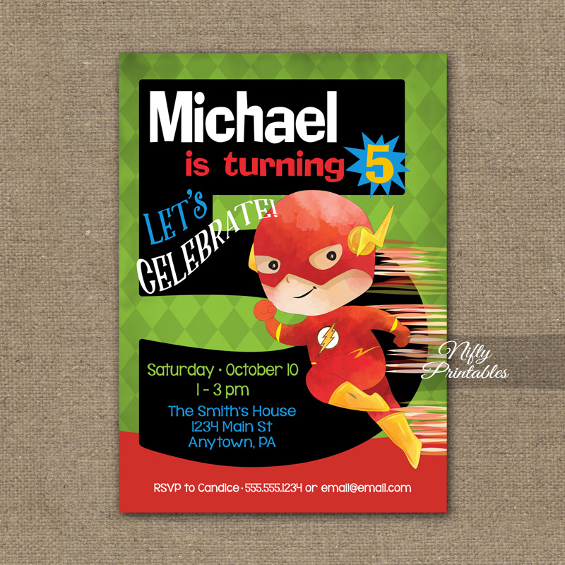 5th Birthday Invitation Superhero