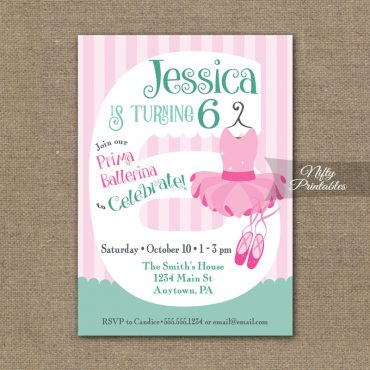 6th Birthday Invitation - Ballet Tutu Invitation