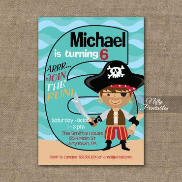 6th Birthday Invitation - Pirate Birthday Invitations