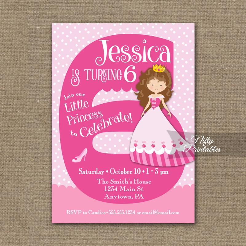 6th Birthday Invitation - Pink Princess Invitation - Nifty ...