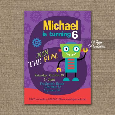 6th Birthday Invitation - Boys Robot Invitation