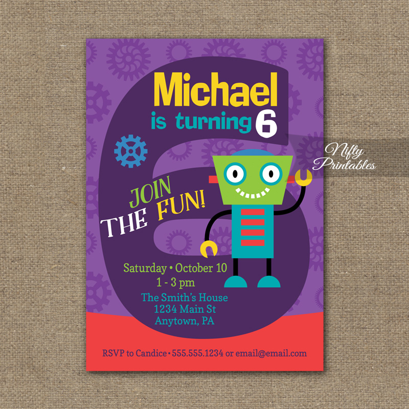 6th Birthday Invitation Boys Robot