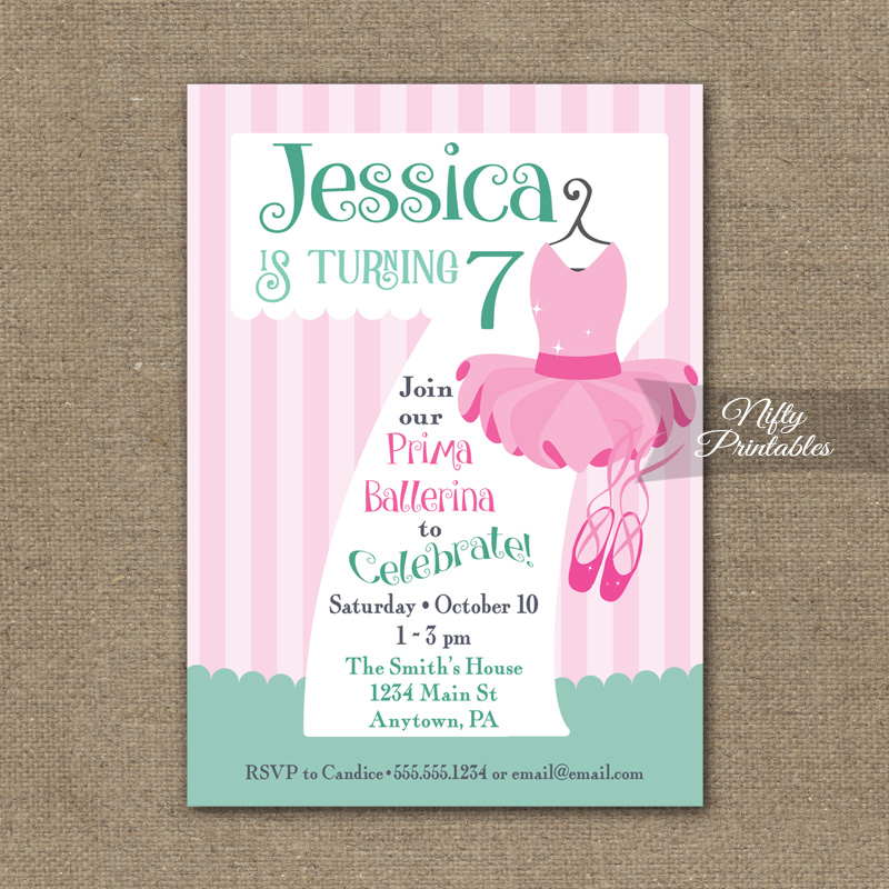 7th Birthday Invitation - Ballet Tutu Invitation - Nifty ...