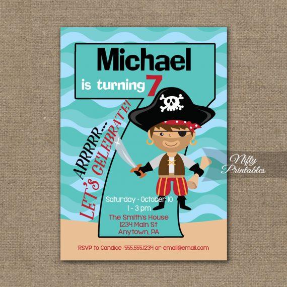 7th Birthday Invitation - Pirate Birthday Invitations