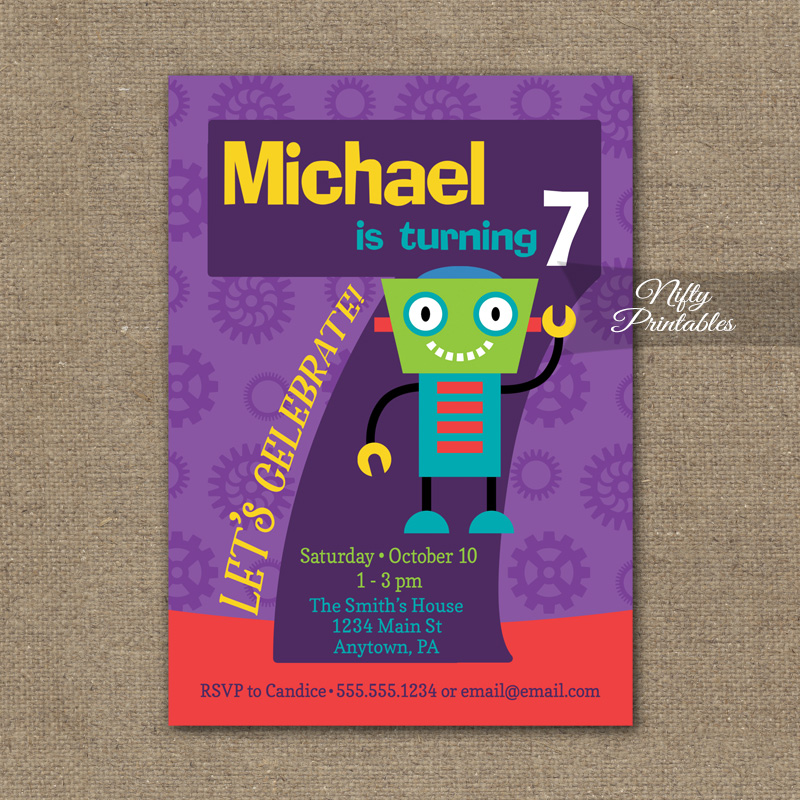 7th Birthday Invitation Boys Robot