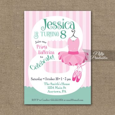 8th Birthday Invitation - Ballet Tutu Invitation