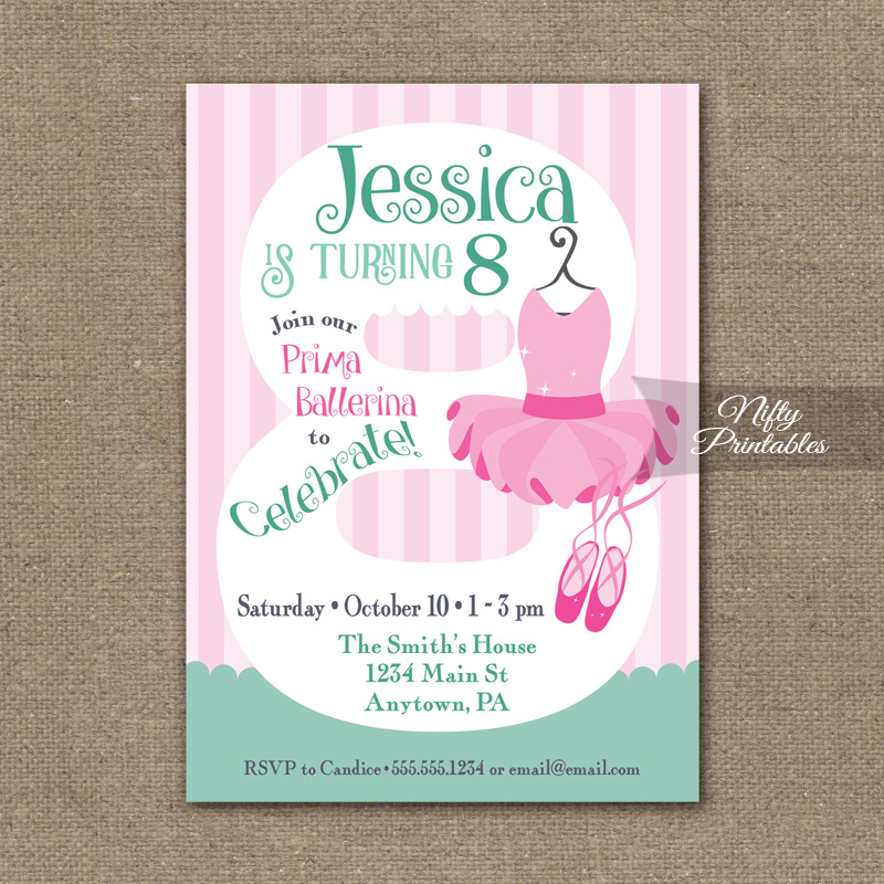 8th Birthday Invitation Ballet Tutu