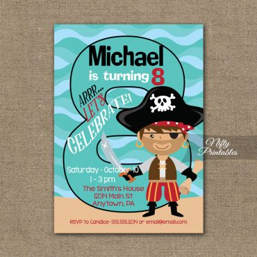 8th Birthday Invitation - Pirate Birthday Invitations
