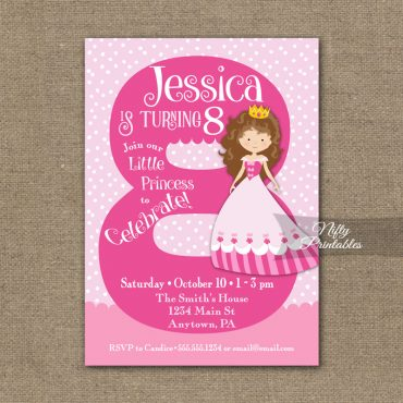 8th Birthday Invitation - Pink Princess Invitation