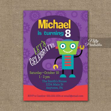 8th Birthday Invitation - Boys Robot Invitation