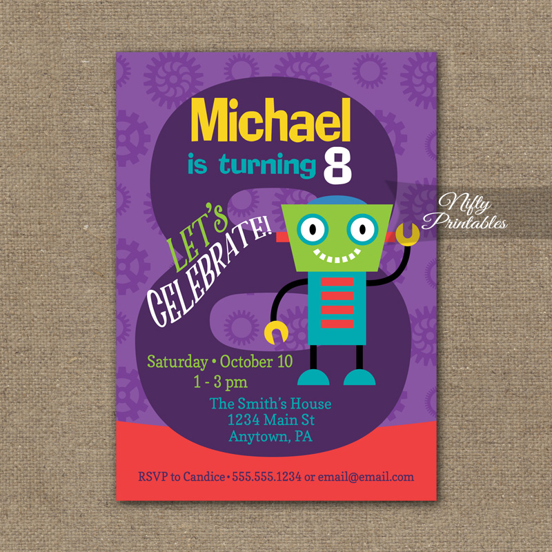 8th Birthday Invitation Boys Robot