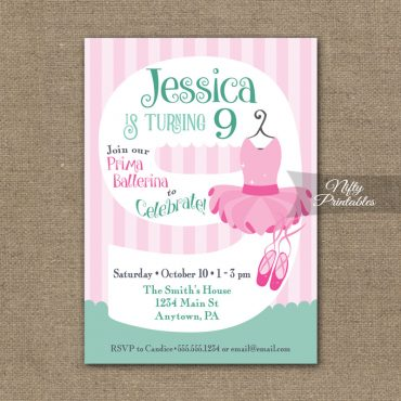 9th Birthday Invitation - Ballet Tutu Invitation
