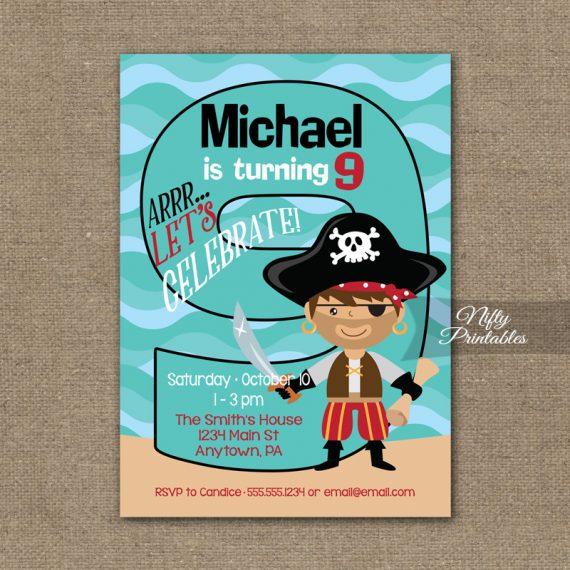 9th Birthday Invitation - Pirate Birthday Invitations